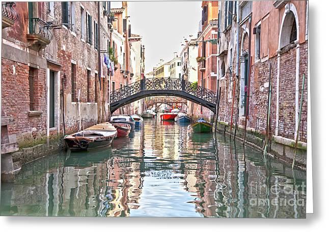 Venice Bridge Crossing 2 Greeting Card by Heiko Koehrer-Wagner