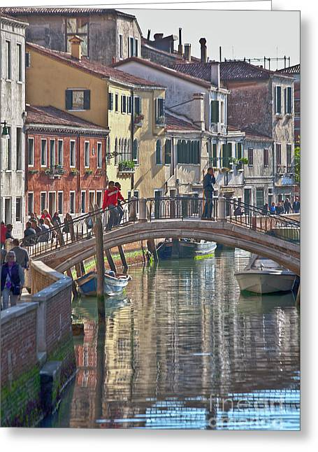 Water Vessels Greeting Cards - Venice bridge crossing 6 Greeting Card by Heiko Koehrer-Wagner