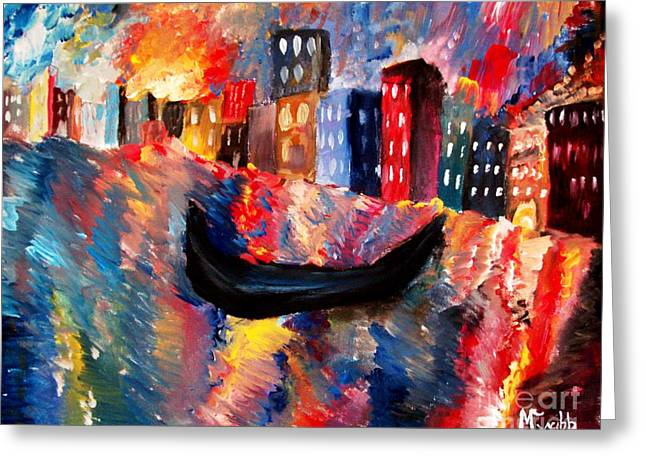 Europe Mixed Media Greeting Cards - Venice by Night Greeting Card by Mike Grubb