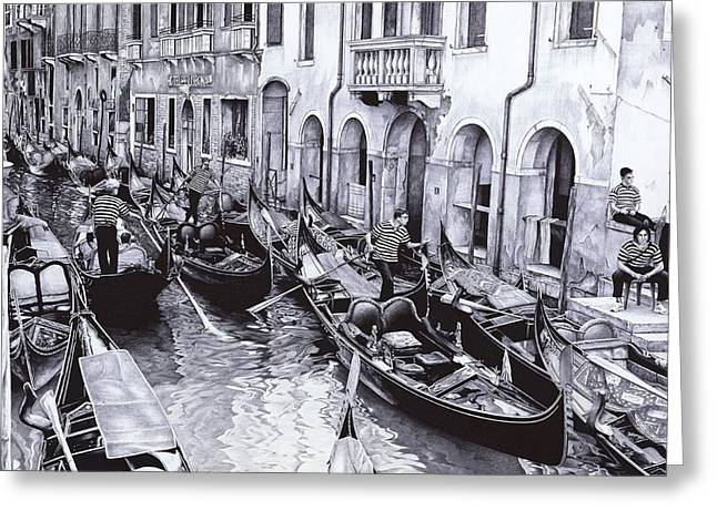 Venice Canal Greeting Card by Andrey Poletaev