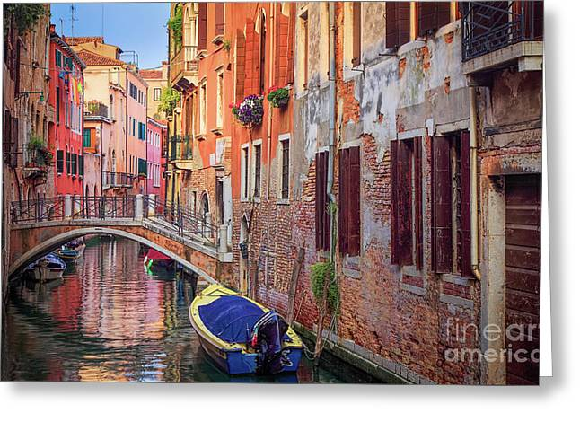 Venice Canal Greeting Card by Inge Johnsson