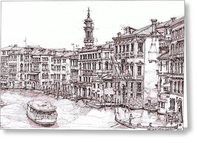 Ink Drawing Greeting Cards - Venice canals in Italia Greeting Card by Building  Art