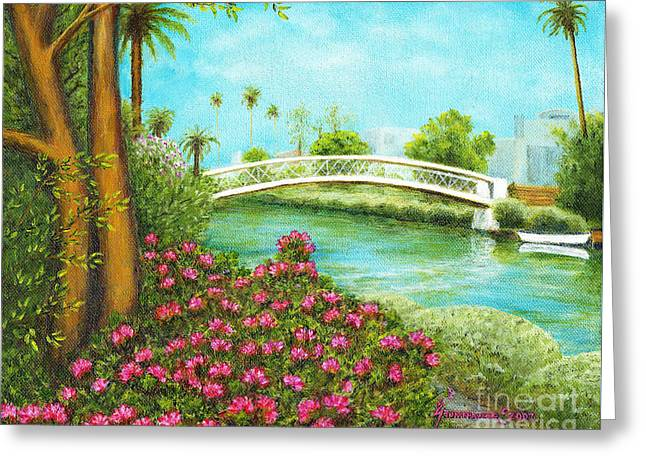 Venice Canals Springtime Greeting Card by Jerome Stumphauzer
