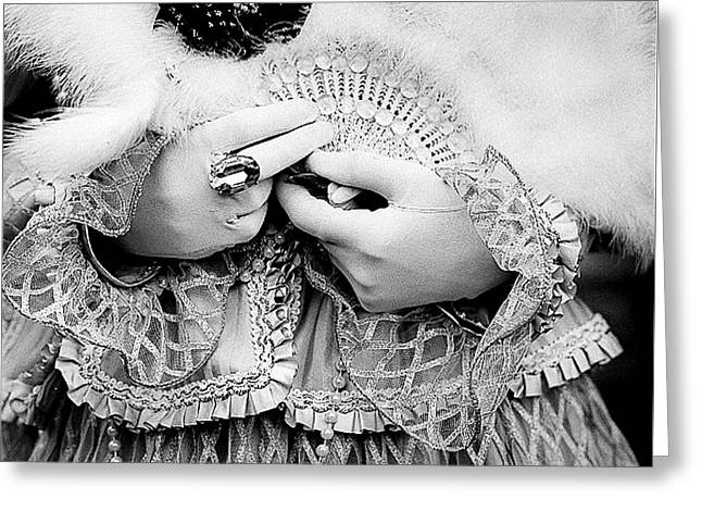 Glove Pyrography Greeting Cards - Venice Carnival in Black and white and satin Greeting Card by Cyril Jayant