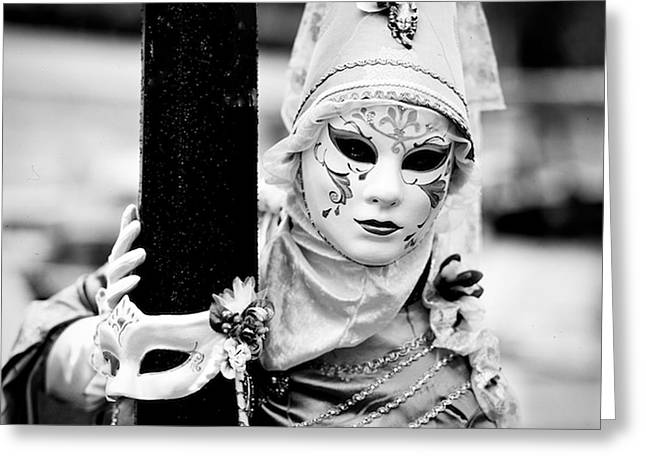 Portraiture Pyrography Greeting Cards - Venice Carnival in Black and white. Greeting Card by Cyril Jayant