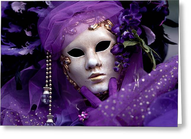 Portraiture Pyrography Greeting Cards - Venice Carnival in Violet. Greeting Card by Cyril Jayant