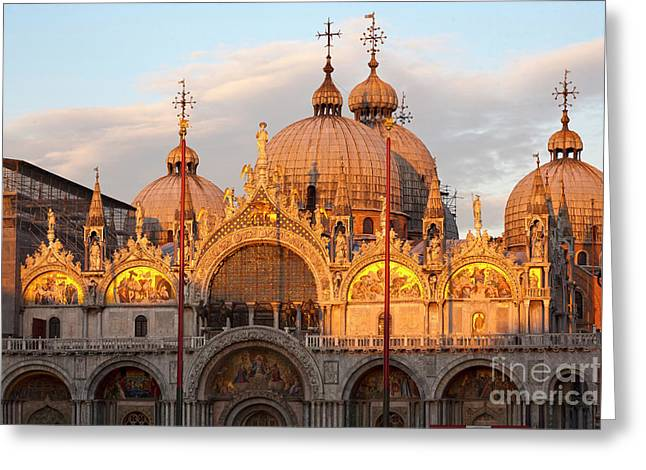 Byzantine Greeting Cards - Venice Church of St. Marks at sunset Greeting Card by Heiko Koehrer-Wagner