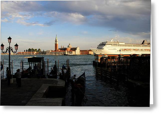 Venice Cruise Ship Greeting Card by Andrew Fare