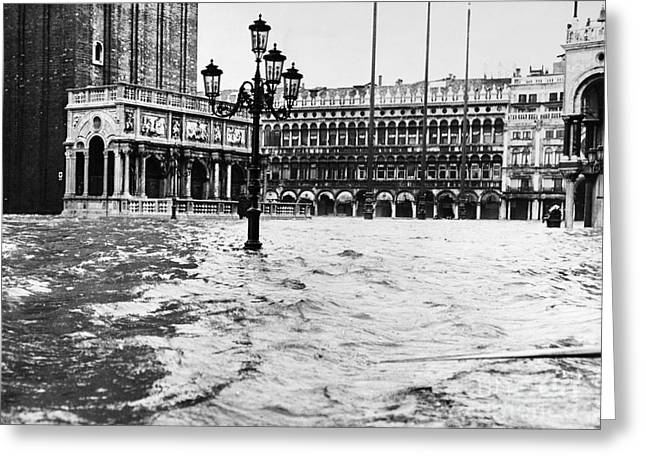 Streetlight Greeting Cards - Venice: Flood, 1966 Greeting Card by Granger
