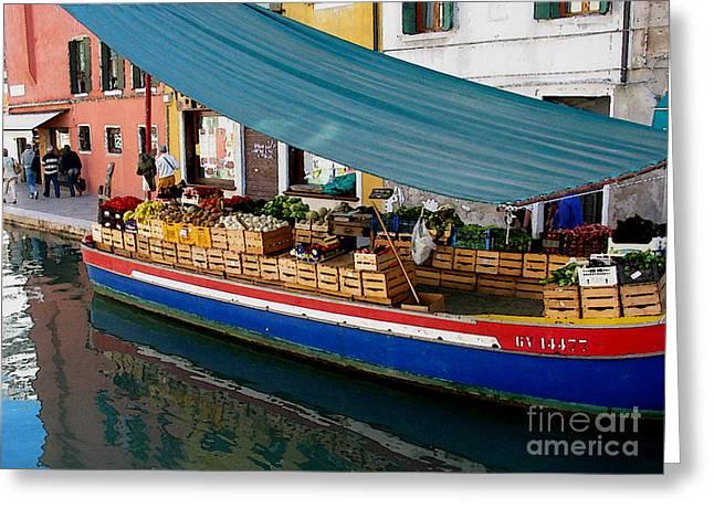 Italian Art Photographs Greeting Cards - Venice Fresh market Boat Greeting Card by Italian Art