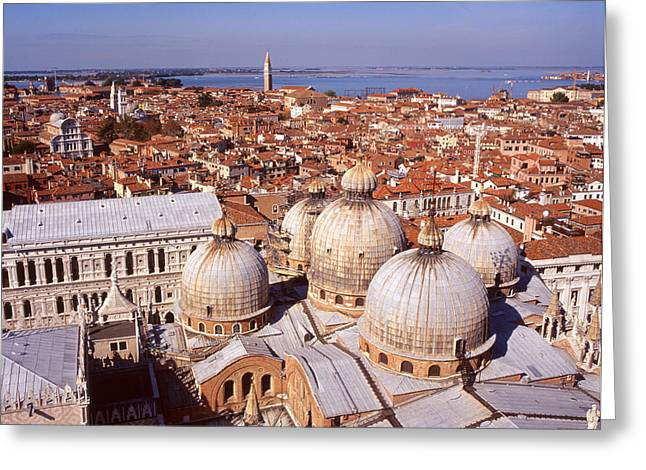 Basilica San Marco Greeting Cards - Venice from above Greeting Card by Paul Cowan