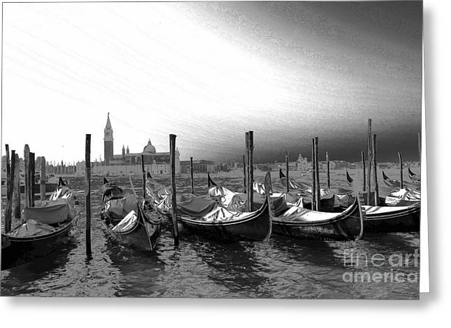 Venice gondolas black and white Greeting Card by Rebecca Margraf