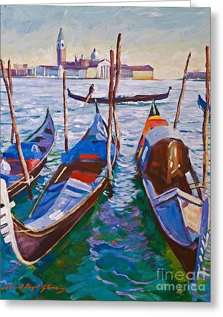 Venice Travel Greeting Cards - Venice Gondolas Greeting Card by David Lloyd Glover