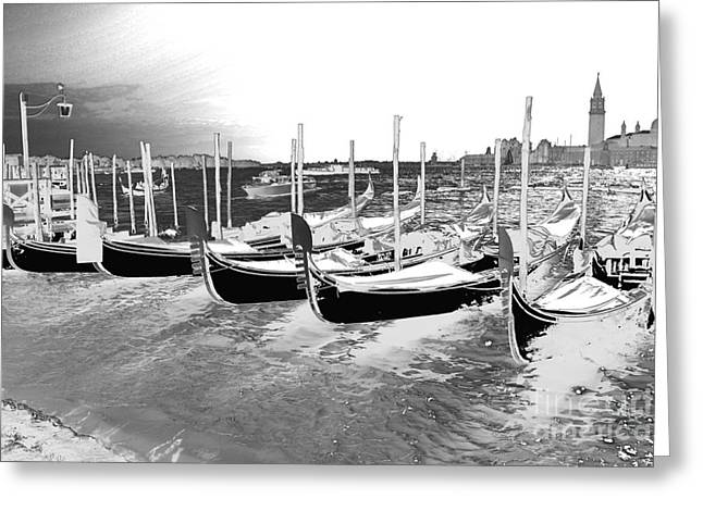 Negative Image Greeting Cards - Venice gondolas silver Greeting Card by Rebecca Margraf
