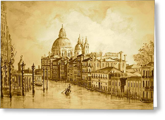 Yvonne Ayoub Greeting Cards - Venice Grand Canal Sepia Greeting Card by Yvonne Ayoub