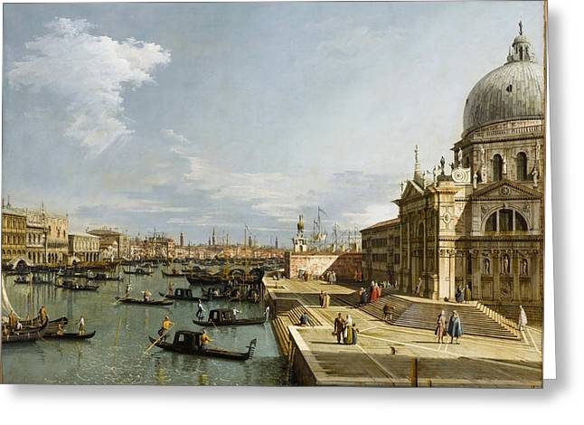 Seascape With Clouds Greeting Cards - Venice - Grand Canal with Santa Maria della Salute Greeting Card by Celestial Images