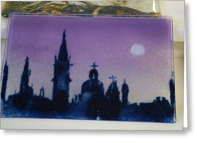 Powder Glass Art Greeting Cards - Venice in the Moonlight Greeting Card by Rosalind Duffy