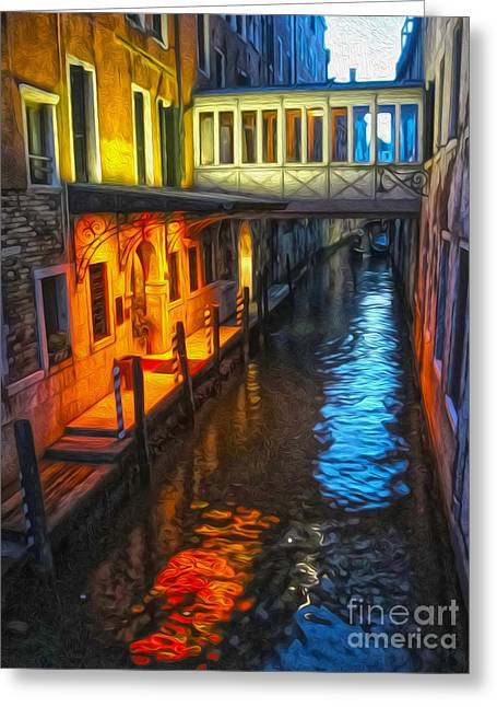 Venice Italy - Colorful Canal At Night Greeting Card by Gregory Dyer