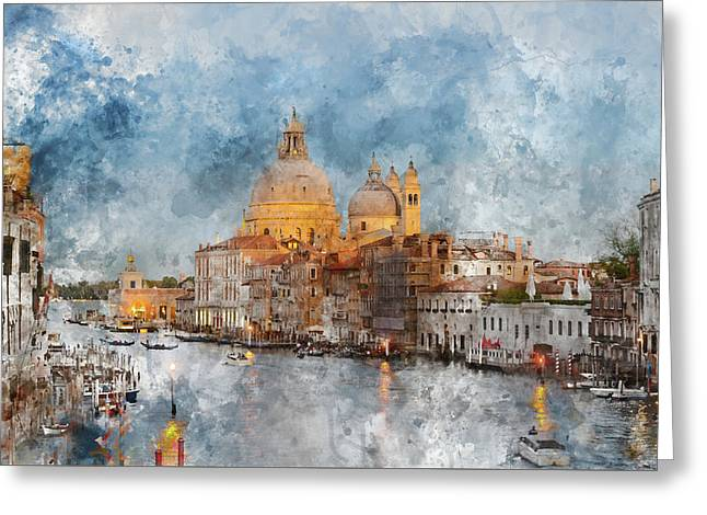 Venice Italy - Grand Canal At Dusk Greeting Card by Brandon Bourdages