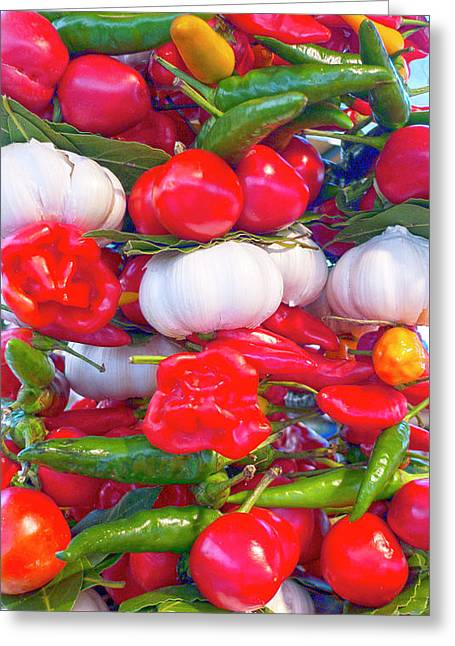 Hot Peppers Greeting Cards - Venice market goodies Greeting Card by Heiko Koehrer-Wagner