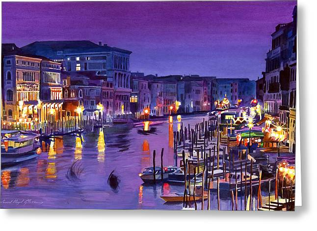 Night Scenery Greeting Cards - Venice Nights Greeting Card by David Lloyd Glover