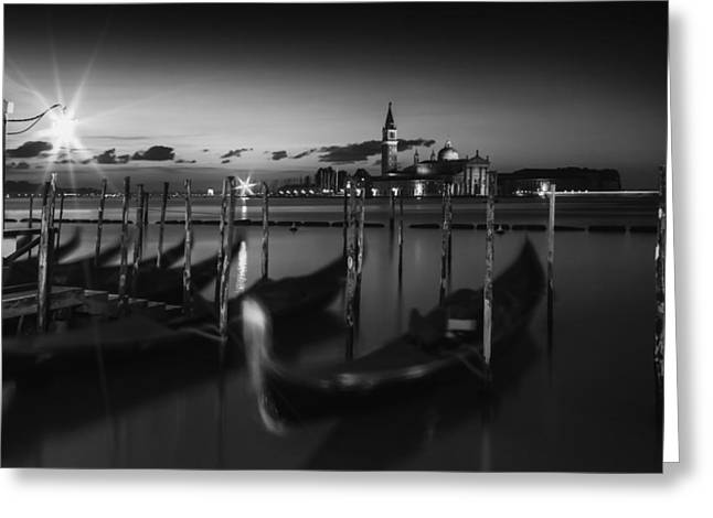 Night Lamp Greeting Cards - VENICE San Giorgio Maggiore Nightscape black and white Greeting Card by Melanie Viola