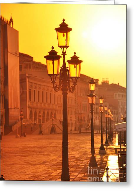 Italian Sunset Greeting Cards - Venice Sunrise 104 Greeting Card by LS Photography