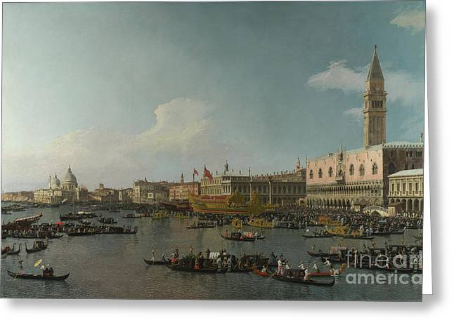 Boats On Water Drawings Greeting Cards - Venice The Basin of San Marco on Ascension Day Greeting Card by Celestial Images