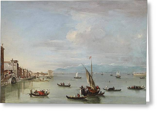 Venice  The Fondamenta Nuove With The Lagoon And The Island Of San Michele Greeting Card by Francesco Guardi