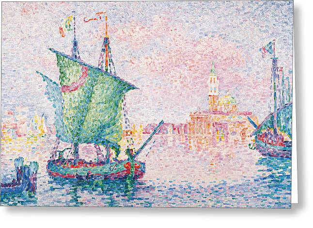 Venice, The Pink Cloud Greeting Card by Paul Signac