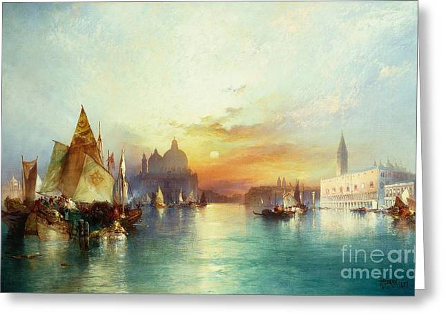 Docked Sailboats Paintings Greeting Cards - Venice Greeting Card by Thomas Moran