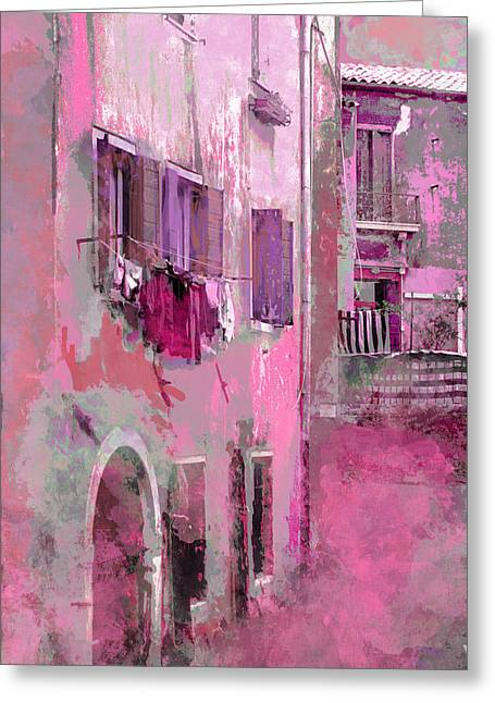 Washday Greeting Cards - Venice Washday In Pink Greeting Card by Suzanne Powers