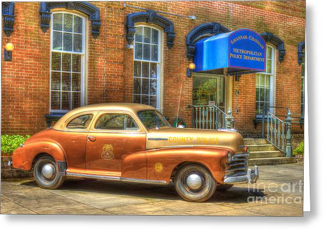 1948 Chevrolet Stylemaster Coupe Chatham County Police Car Greeting Card by Reid Callaway