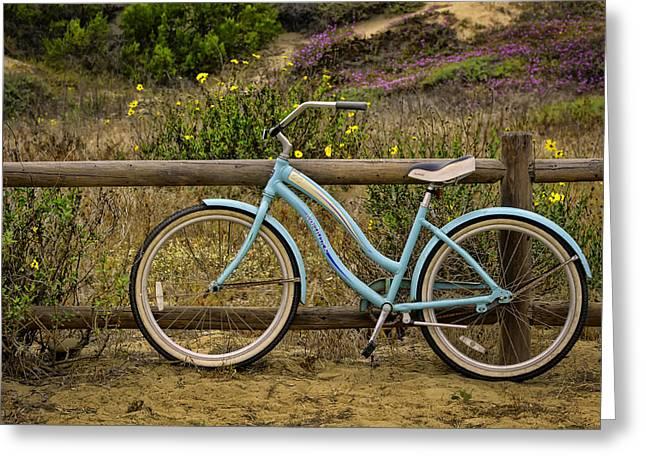 Beach Landscape Greeting Cards - Ventura Beach Bike Greeting Card by Jan and Burt Williams