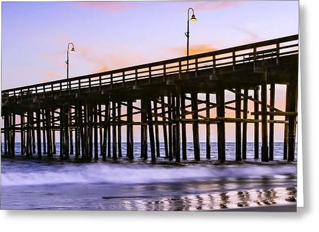 Ventura California Greeting Cards - Ventura Beach Pier at Sunset Pano 2 Greeting Card by Jan and Burt Williams