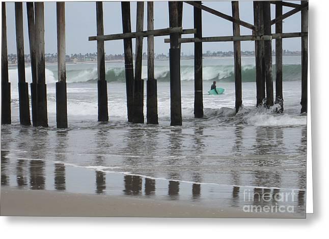 Ventura California Greeting Cards - Ventura Beach Pier Surfer Greeting Card by Cassandra Raine
