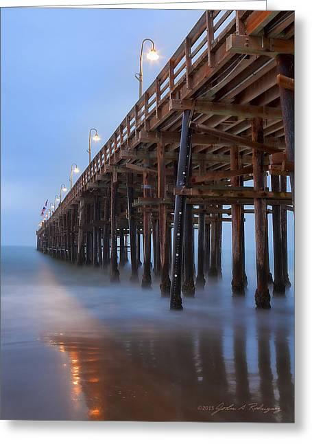 Ventura Ca Pier At Dawn Greeting Card by John A Rodriguez