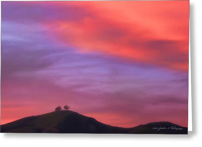 Ventura Ca Two Trees At Sunset Greeting Card by John A Rodriguez