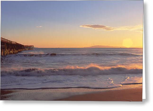 Ventura Pier At Sunset, California Greeting Card by Panoramic Images