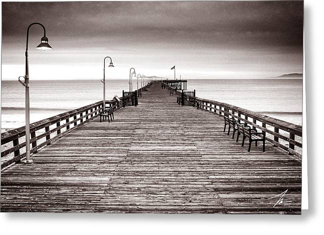 Foggy Landscape Greeting Cards - Ventura Pier Greeting Card by Steve Munch