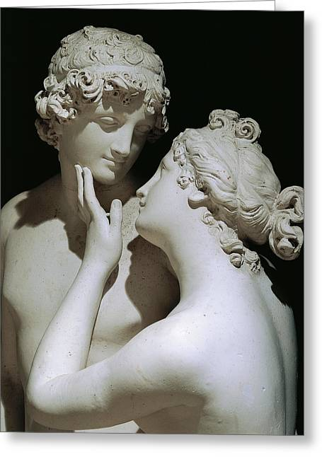 Female Sculptures Greeting Cards - Venus and Adonis Greeting Card by Antonio Canova