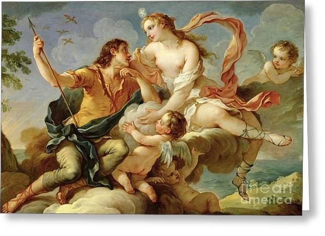 Sky Lovers Greeting Cards - Venus and Adonis  Greeting Card by Charles Joseph Natoire