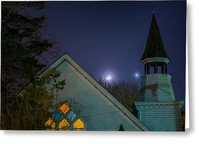 Catonsville Greeting Cards - Venus and Crescent Moon over Oella Greeting Card by Geoffrey Baker