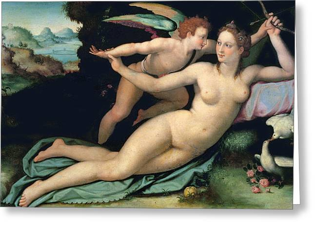 Venus Greeting Cards - Venus and Cupid Greeting Card by Alessandro Allori