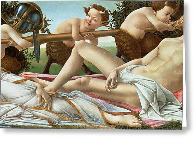 Sleep Paintings Greeting Cards - Venus and Mars Greeting Card by Sandro Botticelli