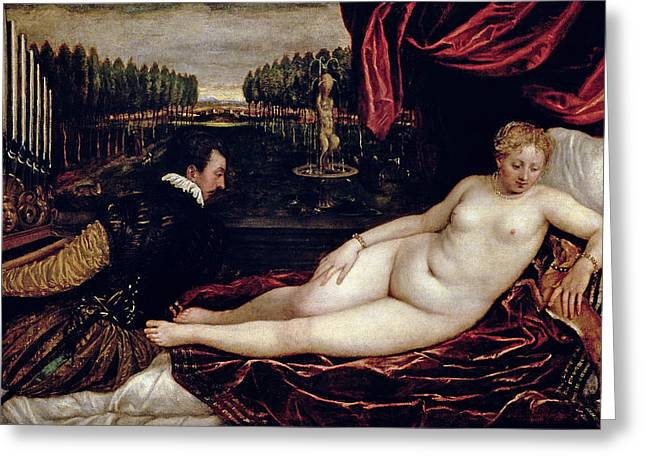 Venus Greeting Cards - Venus and the Organist Greeting Card by Titian