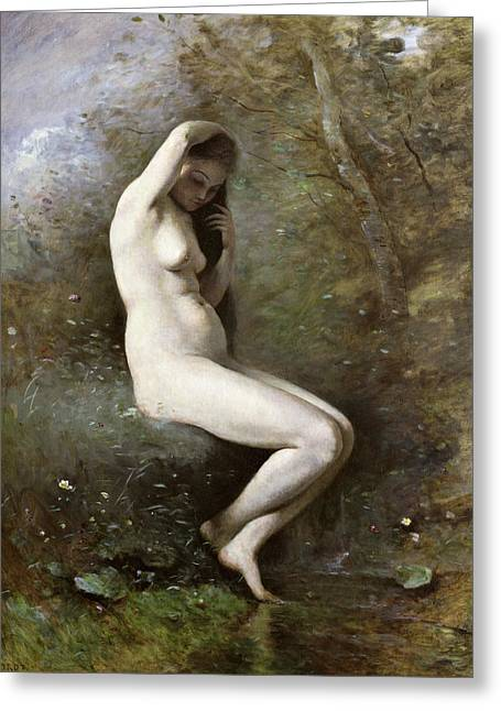 Mythical Landscape Greeting Cards - Venus Bathing Greeting Card by Jean Baptiste Camille Corot