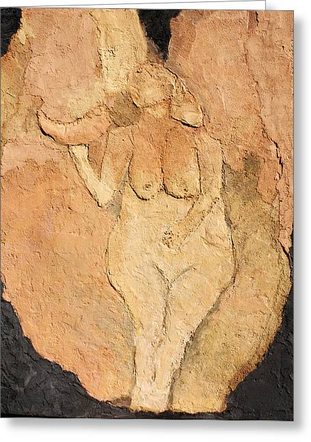 Valley Of The Moon Paintings Greeting Cards - Venus of Laussel Greeting Card by Lisa Baack