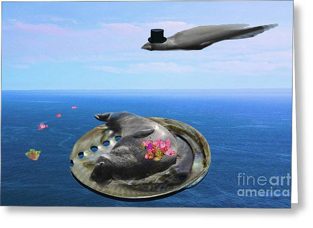 Best Sellers -  - Elephant Seals Greeting Cards - Venus on the Half Shell Greeting Card by Sharon Broucek