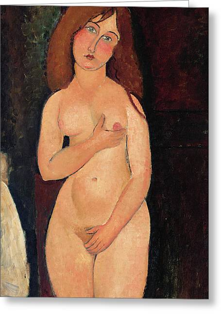 Modesty Greeting Cards - Venus or Standing Nude or Nude Medici Greeting Card by Amedeo Modigliani